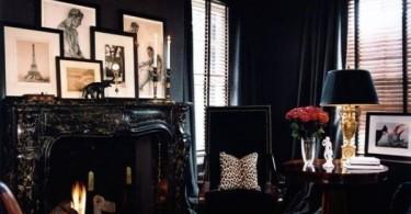 Черная гостиная в стиле эклектика