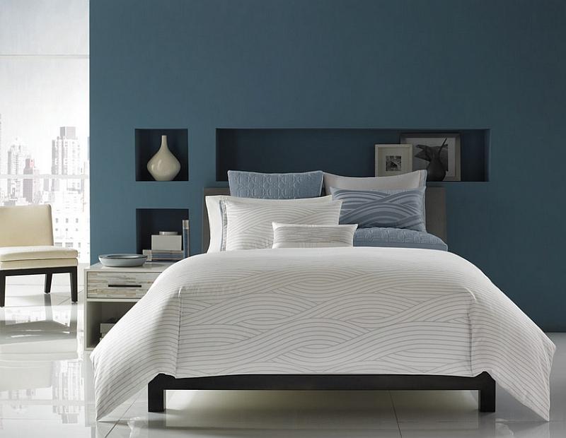 Изысканная спальня в серо-голубых тонах