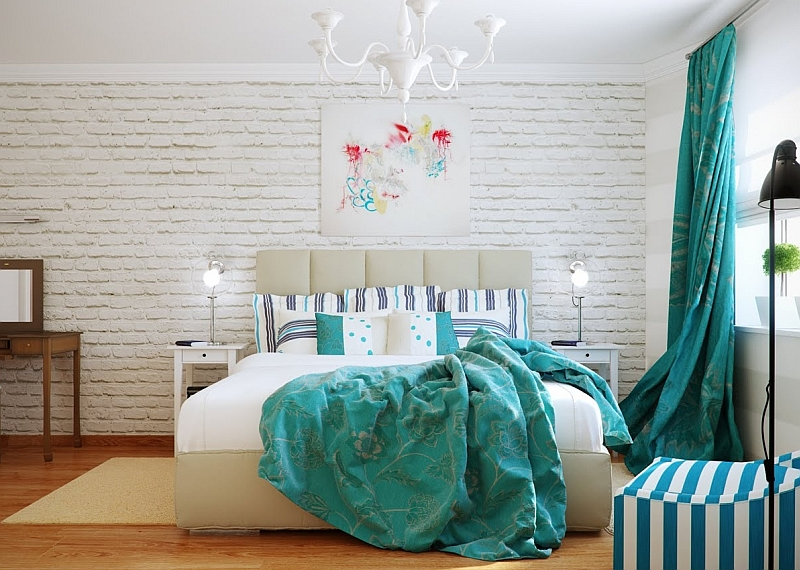 Спальня с бирюзовыми акцентами