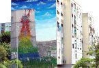 Blu: панно на фасаде 7-этажного здания на Виа Чичилиано в северо-восточном пригороде Рима – Реббибья