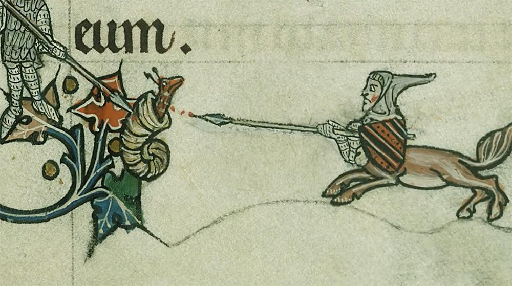 Caballero VS caracol: Dibujos en los campos de manuscritos medievales