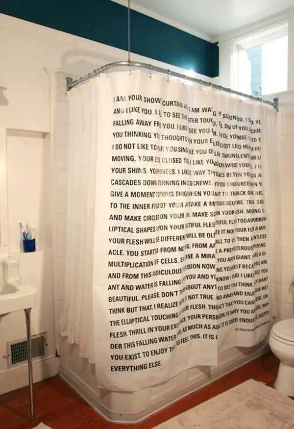 Занавеска для ванной с текстом