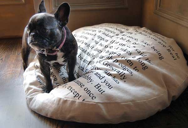 Подушка для собак в виде книжной страницы