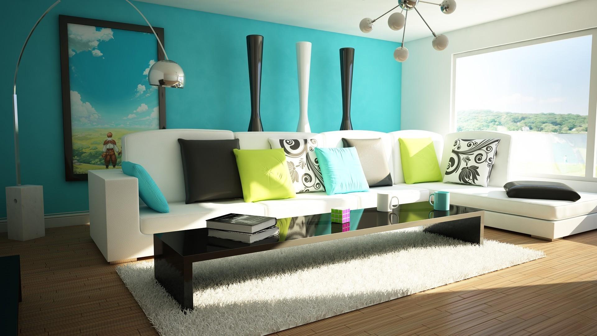 Бирюзовый цвет на стене в гостиной