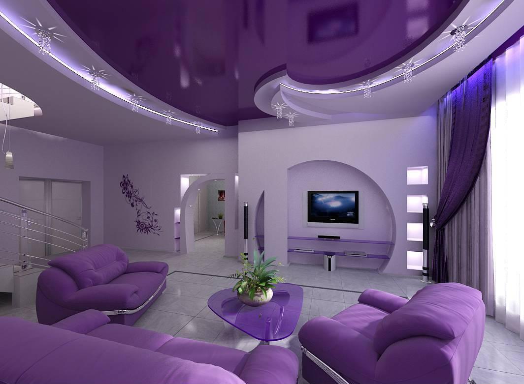 Фиолетовое оформление стен в интерьере