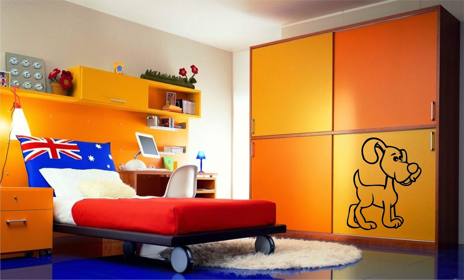Оранжевая мебель в детской комнате