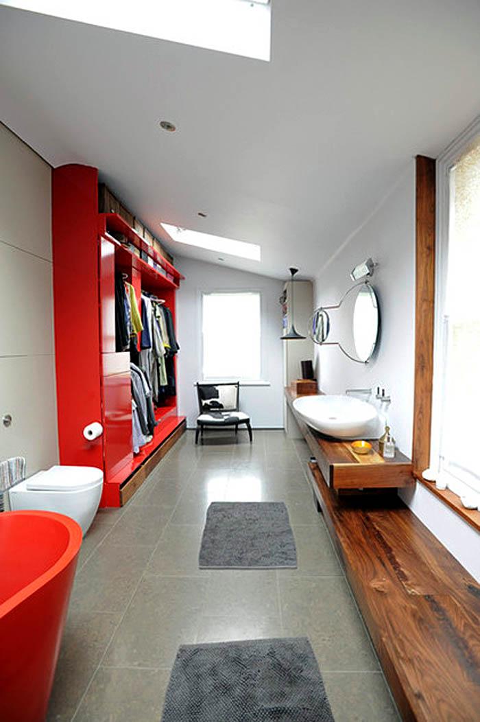 Красная система хранения в спальне