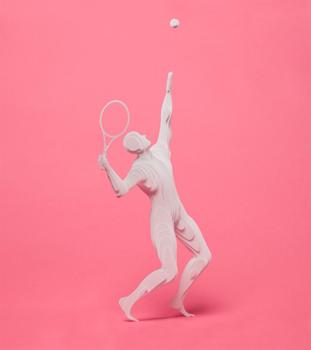 Идея движения: новые скульптуры спортсменов из бумажной коллекции Райи Садер Буханы