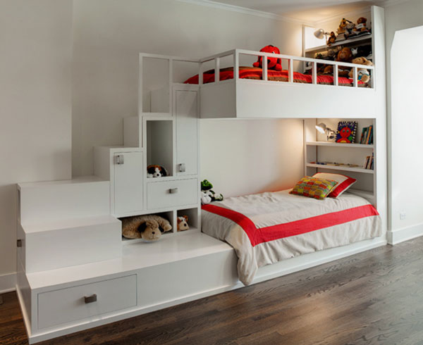 Двухъярусная кровать-шкаф для двоих детей