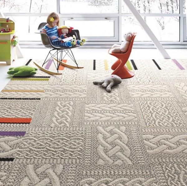 Замечательный дизайн интерьера с помощью ковровой плитки