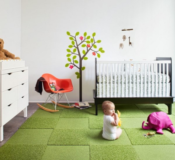 Прекрасный дизайн интерьера с помощью ковровой плитки