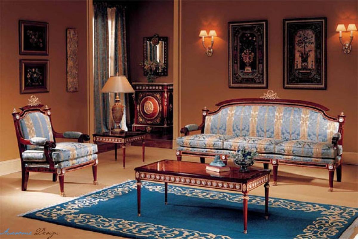 Синий ковер в гостиной