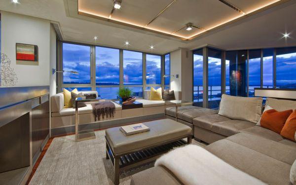 Потолочное освещение в видовой гостиной