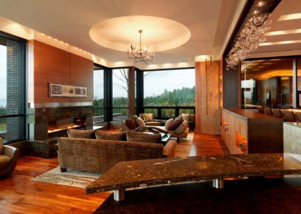 Интерьер современной видовой гостиной