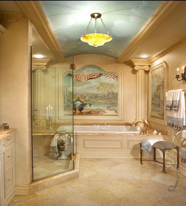 Ручная роспись потолка в ванной