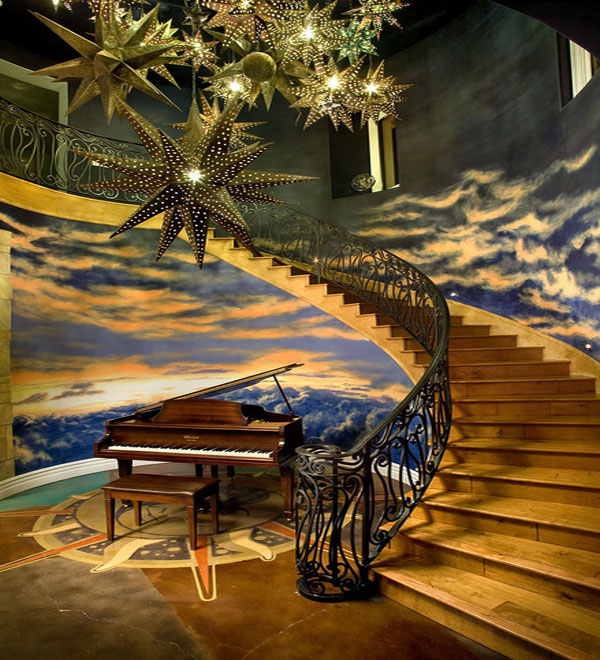 Ручная роспись потолка в прихожей