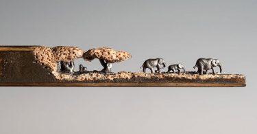 Синди Чинн: очаровательные миниатюры бредущих слонов, вырезанных из грифеля карандаша