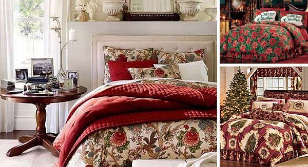Красное одеяло на кровати