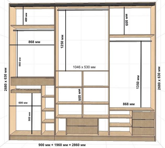 Схема размеров шкафа-купе