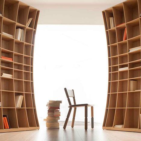 Вогнутые функциональные шкафы для книг