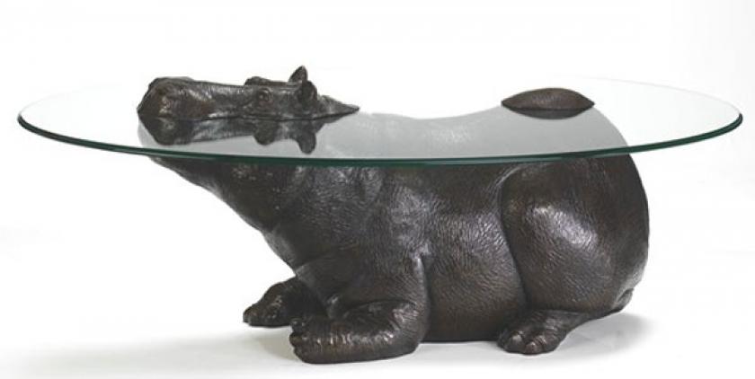 Стеклянный стол с бронзовым бегемотом от Mark Stoddart