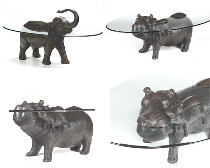 Виды стеклянного стола с бронзовыми животными от Mark Stoddart