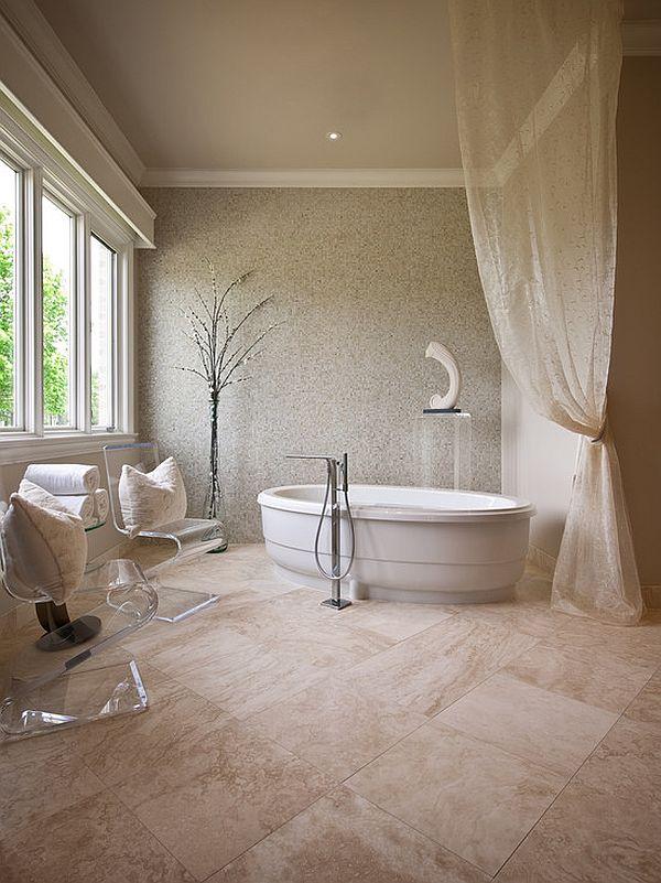 Интерьер ванной в бежевых оттенках