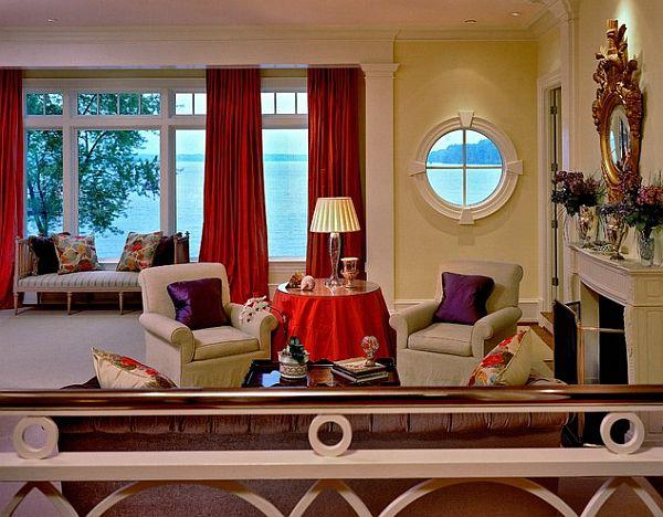 Красные шторы и скатерть в интерьере