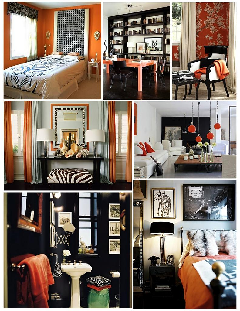 Сочетание чёрного и оранжевого в интерьере