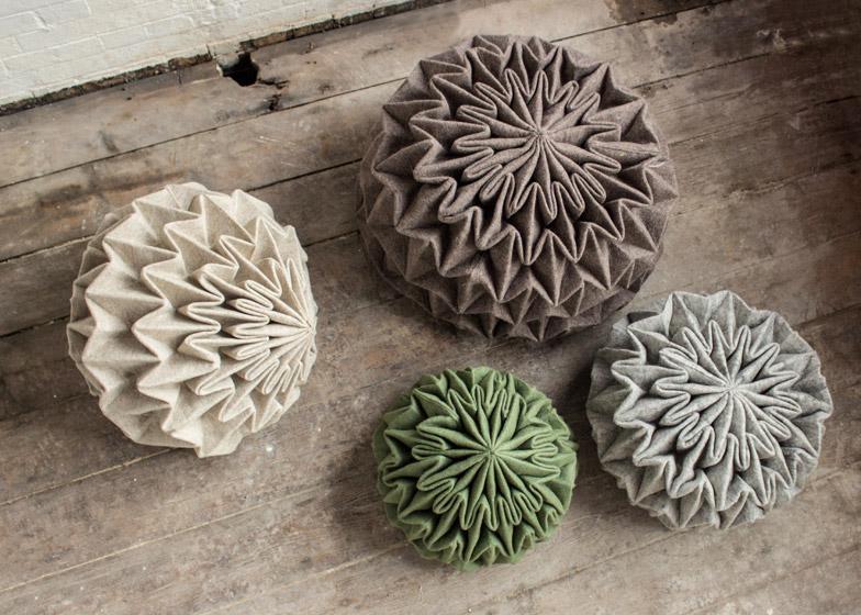 Креативные шерстяные пуфы Cones
