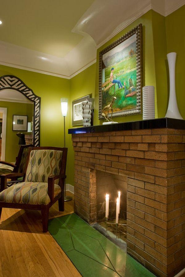 Оливковый цвет потолка в интерьере
