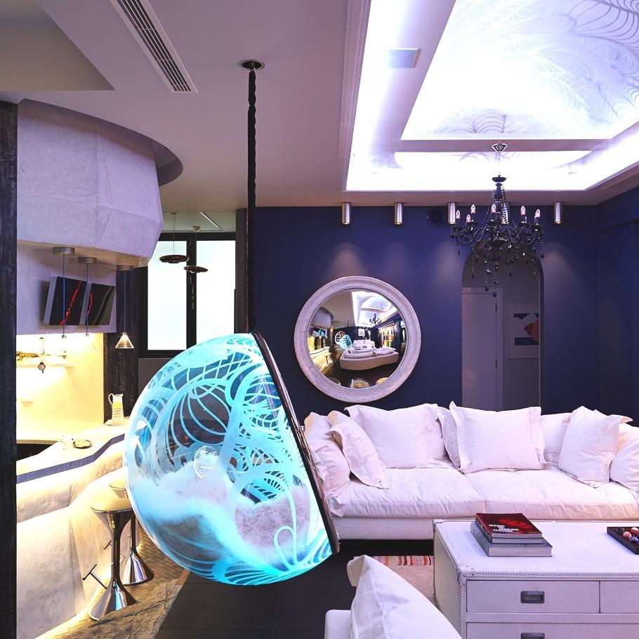 Необычный световой дизайн интерьера