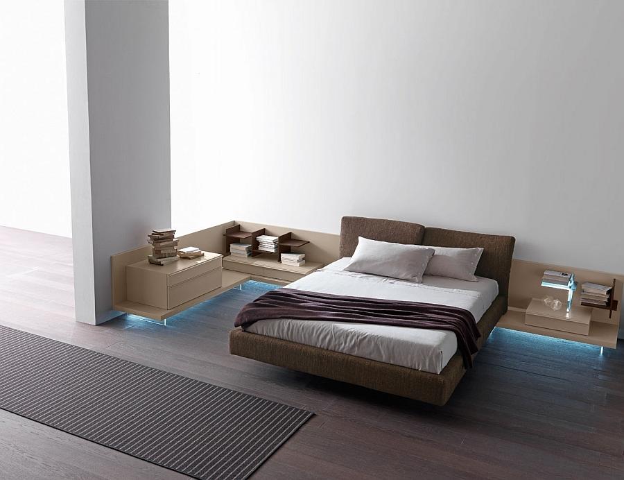 Необычная кровать в интерьере белой спальни