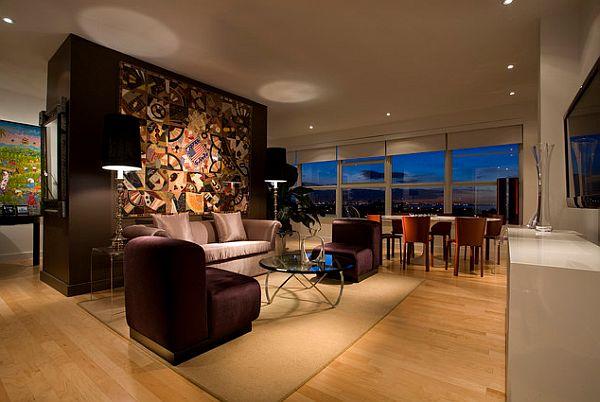 Красивое оформление стены в гостиной