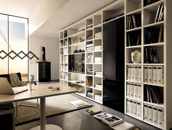 Книжные шкафы от Hulsta подходят для больших и малых офисов