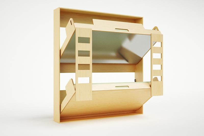 Необычная складная кровать в интерьере помещения