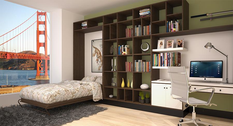 Складная кровать в интерьере помещения