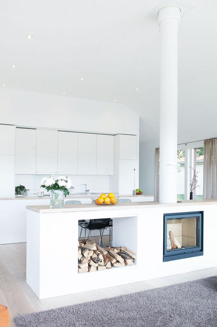 Камин в дизайне интерьера кухни