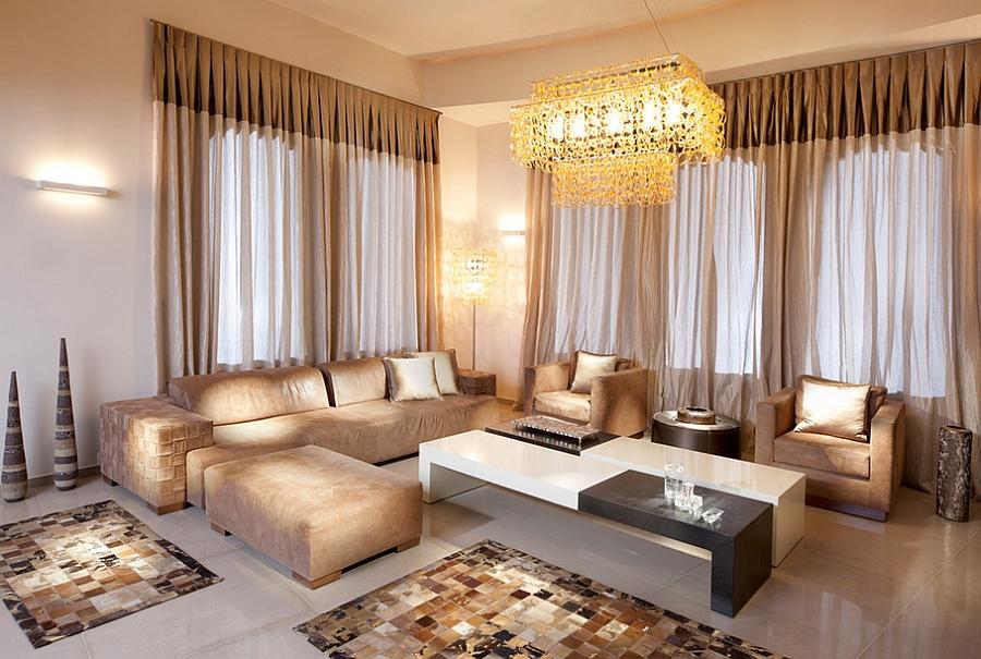 Сказочная гостиная в золотистом цвете