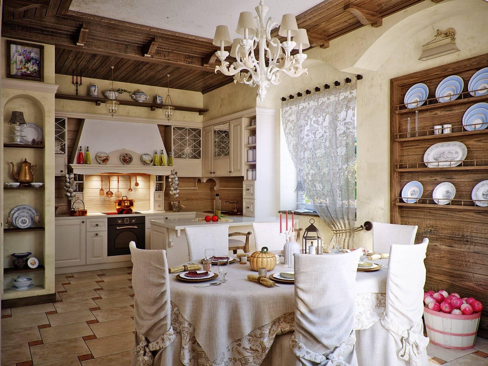 Кантри и прованс стиль в интерьере кухни
