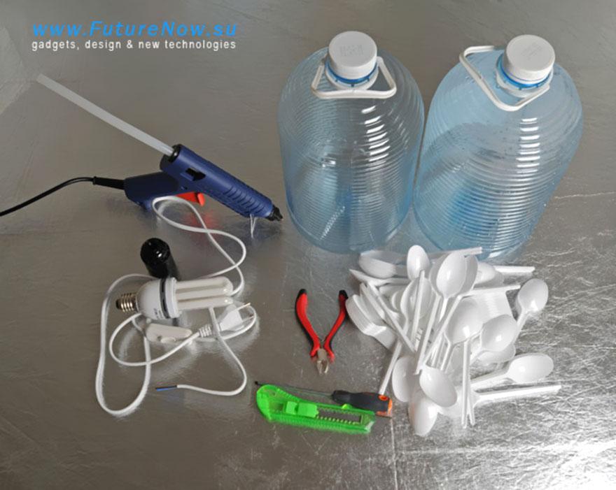 Светильник из 5-литровой пластиковой бутылки своими руками