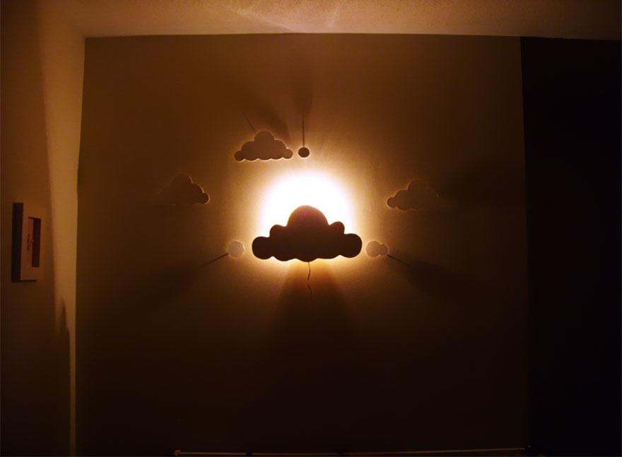 Прекрасный светильник облака для детской своими руками