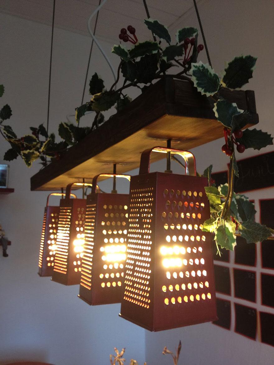 Креативный светильник из старых терок своими руками