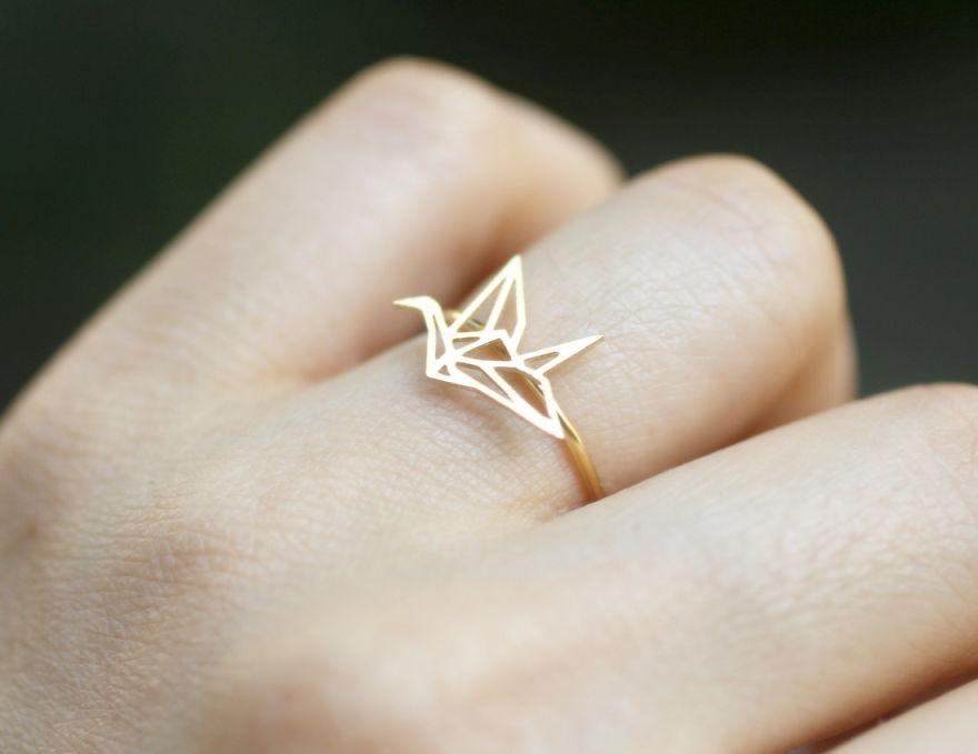 Кольцо Оригами журавль