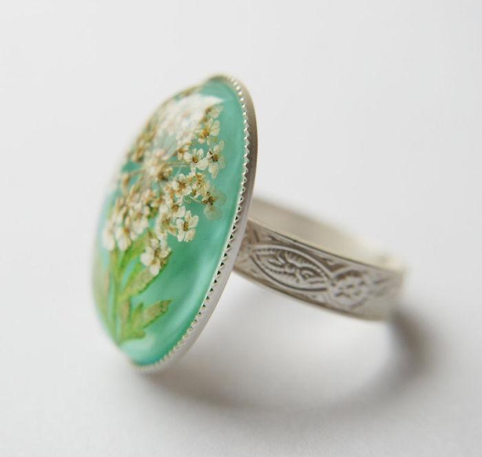 Кольцо Реальный цветок
