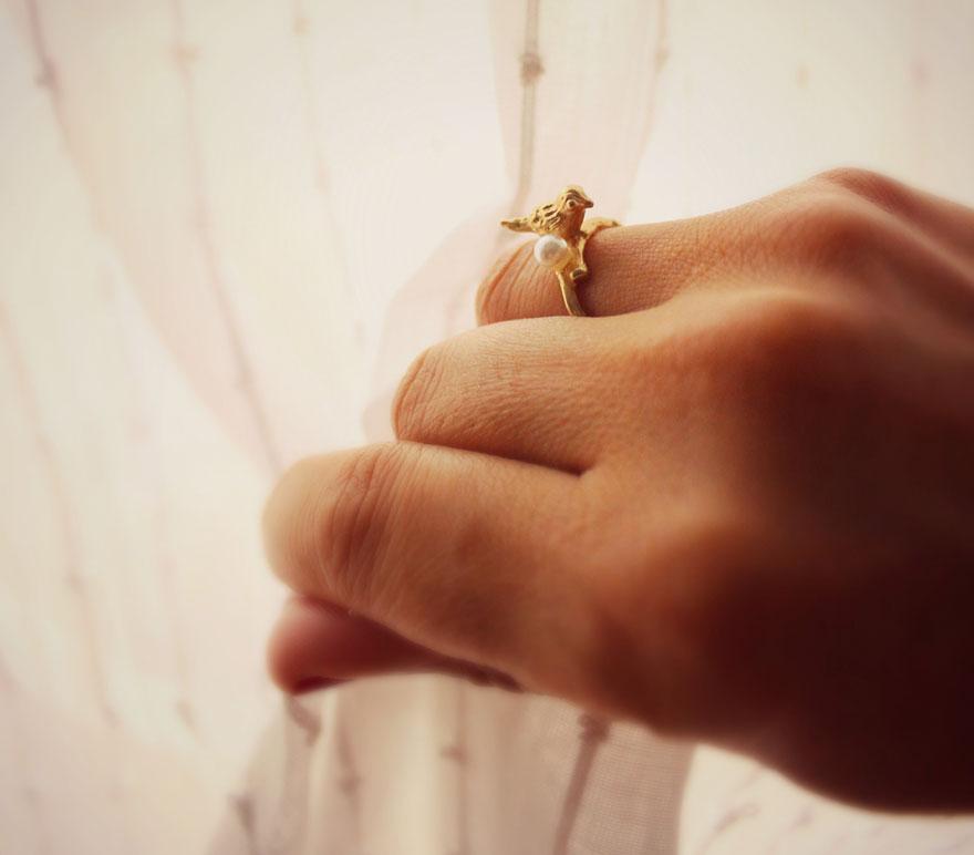 Кольцо Милая птичка