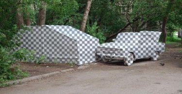 Зрительная иллюзия удалённого изображения: инсталляция на фестивале стрит-арт «Стенограффия»