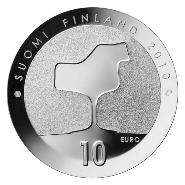 Серебряная монета с силуэтом стула