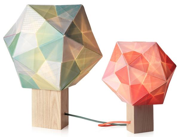Лампы с абажуром из цветной бумаги