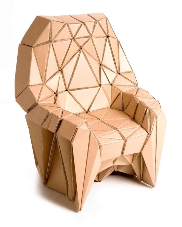 Кресло Bravais из картона розового цвета